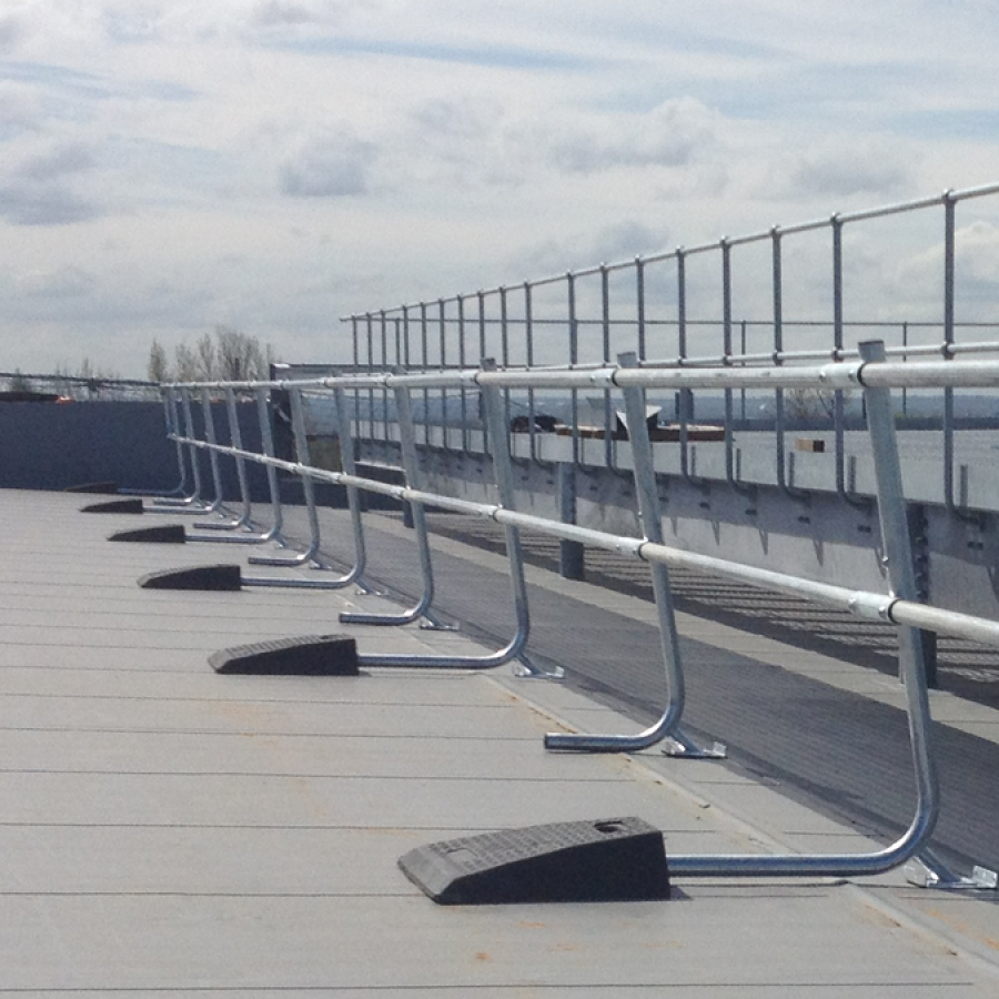 An example of our Freestanding roof edge protection system.